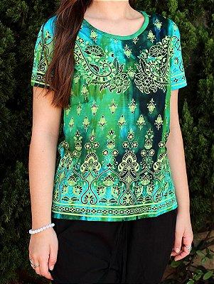 Baby Look Indiana Feminina Floral Tie-dye Verde