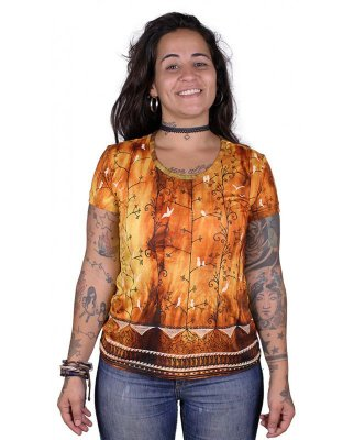 Baby Look Indiana Feminina Tie-dye Passarinhos Laranja