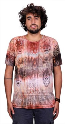 Camiseta Indiana Unissex Máscaras Tie-Dye Caqui
