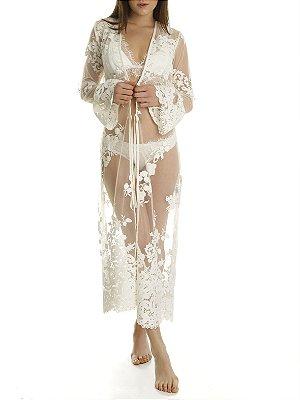 Kimono Flamboyant Rendado Longo Off White
