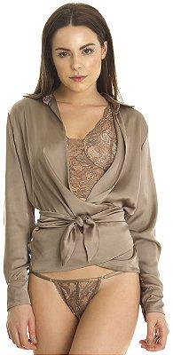 Camisa Cruzada Feminina Amarração Marrom