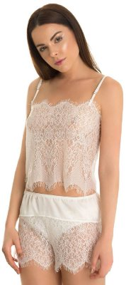 Blusa Vitrais Alcinha Renda Chantilly Off White