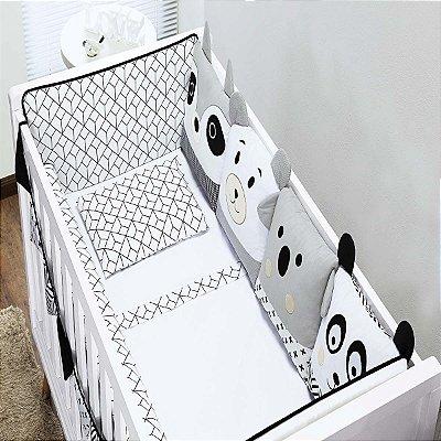 Kit Berço 10 Peças - Coleção Bichinhos Branco e Preto