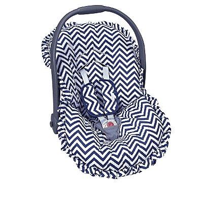 Capa para bebê Conforto e Protetor de Cinto Chevron Marinho