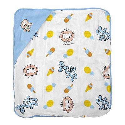 Toalha de banho para bebê em plush com puff no capuz Turma da Mônica Cebolinha