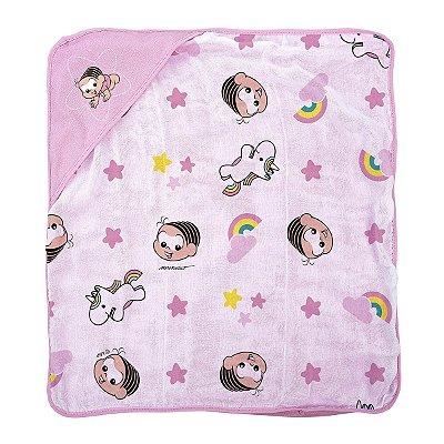 Toalha de banho para bebê em plush com puff no capuz Mônica Baby