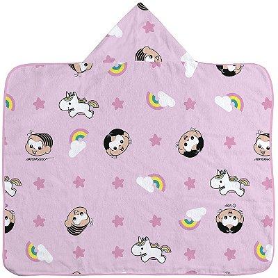 Toalha de banho para bebê com capuz Mônica e Magali