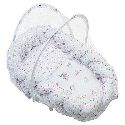 Ninho Trança + Travesseiro Antissufocante + Mosquiteiro Estampa Feminina