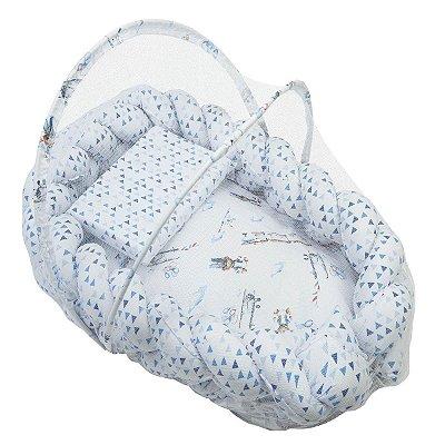 Ninho Trança + Travesseiro Antissufocante + Mosquiteiro Estampa Masculino