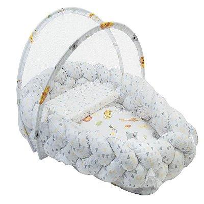Ninho Trança + Travesseiro Antissufocante + Mosquiteiro Estampa Neutra