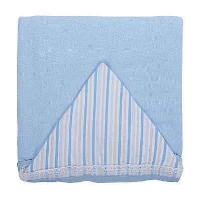 Toalha de Banho com Capuz e Forro de Fralda Cor Azul