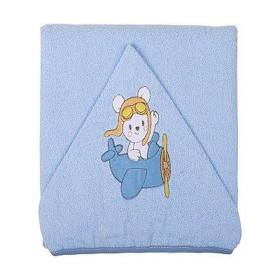 Toalha de Banho com Capuz Bordado e Forro de Fralda Azul Aviador