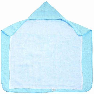 Toalha de Banho para Bordar Azul com Capuz e Forro Fralda
