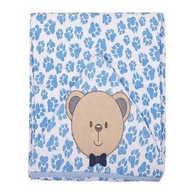Toalha de banho com Capuz Bordado e Forro Fralda Ursinho Azul