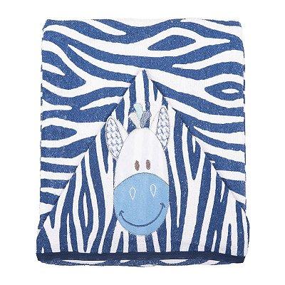 Toalha de banho com Capuz Bordado e Forro Fralda Zebra Azul Marinho