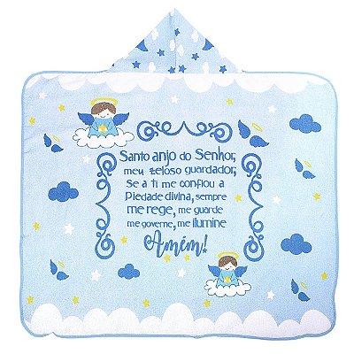 Toalha de Banho com Capuz e Forro Fralda Azul do Anjinho da Guarda
