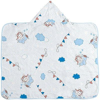 Toalha de banho Estampada com Capuz e Forro de Fralda Azul Aviador