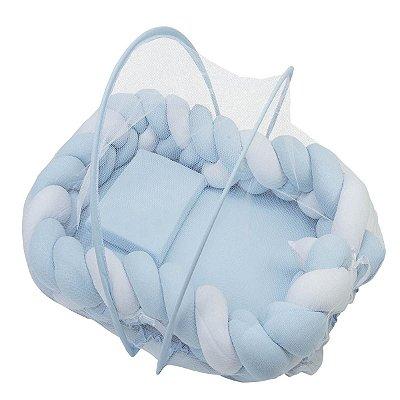 Ninho Trança + Travesseiro + Mosquiteiro azul e Branco