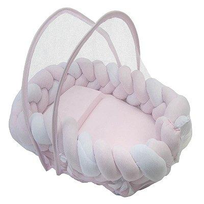 Ninho Trança + Travesseiro + Mosquiteiro Rosa e Branco