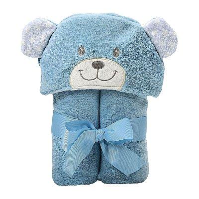 Manta com Capuz Urso Azul