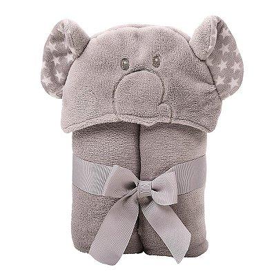 Manta com Capuz Elefante Cinza