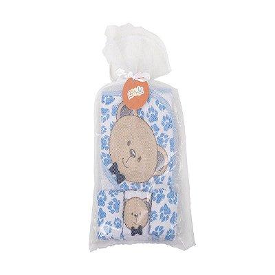 KIT Banho Toalha + Babete Ursinho Azul