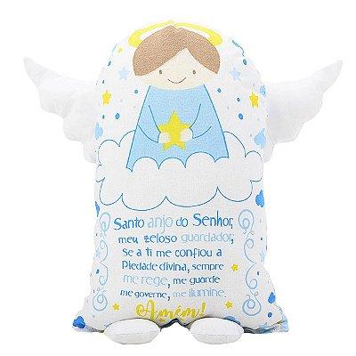 Travesseiro Naninha 150 fios Oração Anjinho da Guarda Azul