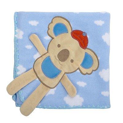 Cobertor para Bebê Estampado com Bordado Azul Coala
