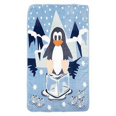 Cobertor Para Bebê em Microfibra Estampado Azul Pinguim