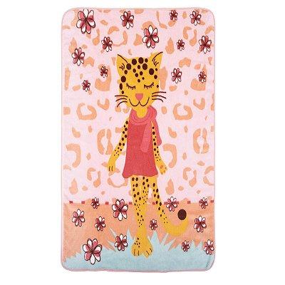 Cobertor para Bebê em Microfibra Estampado Rosa Tigresa