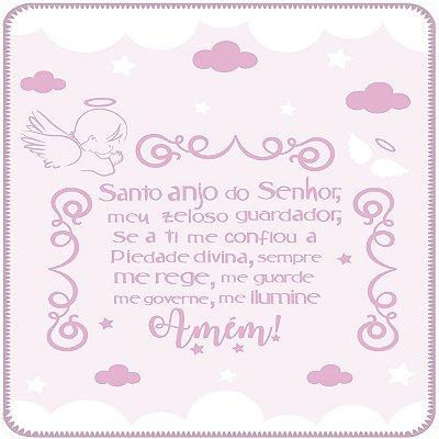 Cobertor Estampado Rosa Oração Anjo da Guarda