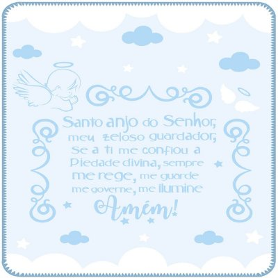 Cobertor Estampado Azul Oração Anjo da Guarda