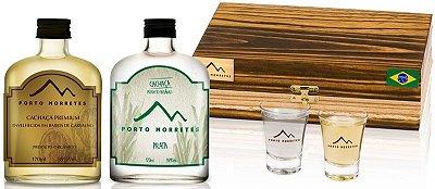 Cachaça Porto Morretes | Kit Garrafas de Bolso + 2 copos