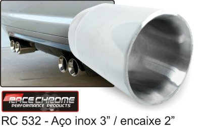 Ponteira Race Chrome Reta de Inox