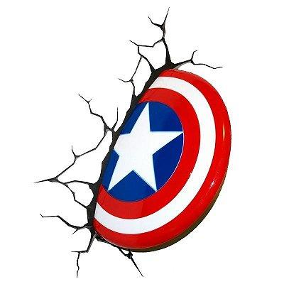 Luminária Escudo Do Capitão América 3d Light Fx Avengers