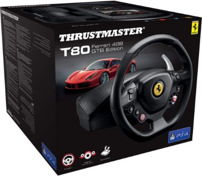Volante c/ Pedais Thrustmaster T80 Ferrari 488 GTB Racing Wheel PS4/PC