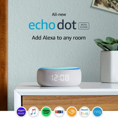 Amazon Echo Dot (3rd Gen) Smart Speaker Clock Relógio C/ Alexa