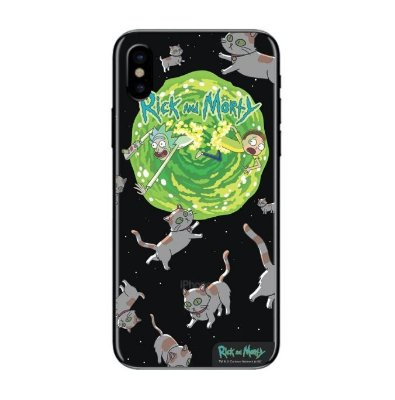 Capa Case Transparente Celular Iphone X e Xs Cats Rick And Morty
