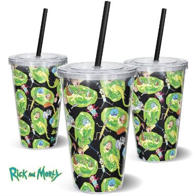 Copo Canudo 600ml Portais Rick and Morty