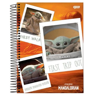 Caderno Capa Dura 10X1 160fl Star Wars The Mandalorian Baby Yoda