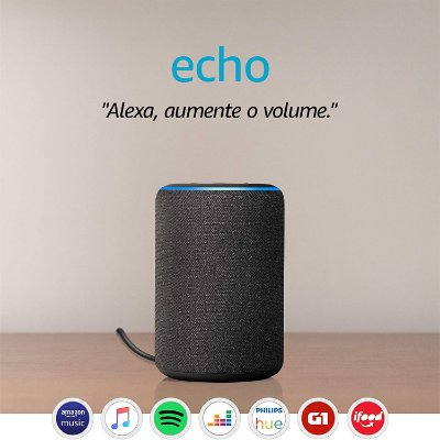 Amazon Echo 3ª Geração Smart Speaker c/ Alexa Black - Preto