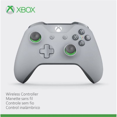 Controle Xbox One Wireless Grooby Cinza e Verde Bluetooth P2