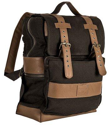 Mochila em couro legítimo e lona porta notebook masculina executiva bolso externo Malbec - Marrom - Tamanho M