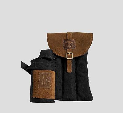 Kit Avental couro e Lona com Bolsa Porta Acessórios Churrasco preto