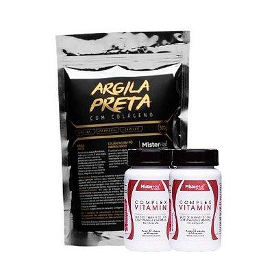 Kit Argila preta + 2 Suplemento Capilar - Mister Hair