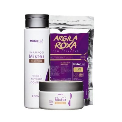 KIT Mister Blonde (Shampoo e Máscara) com Argila Roxa com Colágeno - Mister Hair