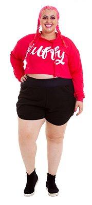 Shorts Plus Size Moletinho Preto