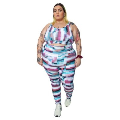 Legging Plus Size Joana Dark - Emana Plus Estampada Indi
