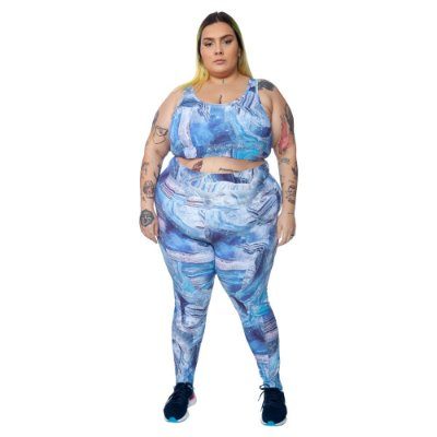 Legging Plus Size Joana Dark - Emana Plus Estampada Bianca