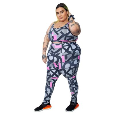 Legging Plus Size Joana Dark - Emana Plus Estampada Gerusa